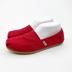 TOMS Alpargatos Classic Red Canvas Slip On Shoes